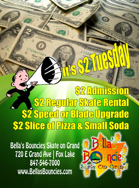 $2 Tuesday Special Bellas Bouncies Skate on Grand